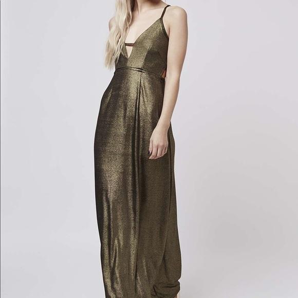 Oh My Love Dresses Gold Metallic Maxi Dress Xs Poshmark